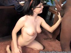 Get a boner watching this brunette, with a nice butt wearing glasses, while she goes hardcore with a guy in front of her white cuckold.