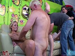 A couple of horny mind blowing studs invited voracious lusty whores to please them. Camera guy was present at that copulation. Bosomy blondie got banged tough in mish pose right away...Look at this dirty group fuck in My XXX Pass sex video!