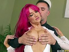 Brazzers Network brings you a hell of a free porn video where you can see how the purple-haired belle Ashley Graham gets banged hard after giving some head.