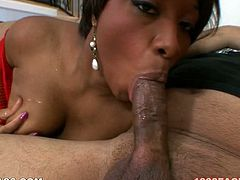 This sultry whore can hypnotize any man with her big round ass. Just look how sexy she is. Cock crazed nympho sucks her lover's massive pecker greedily like a dirty whore.