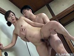 Japanese MILF gets banged by a younger guy after a dinner