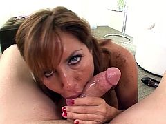 Horny cougar, Tara Holiday, amazes with her unique cock sucking skills