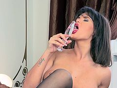 Sextractive brunette babe with juicy fat lips and big impressive boobs tries to satisfy her smooth juicy pussy. Her playful fingers and glass dildo penetrate her muff and make her moan.