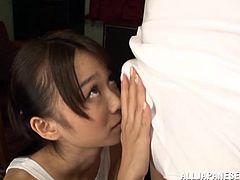 Asuka Hoshino is a cute Japanese girl. She toys her pussy with a vibrator trough a swimsuit. Then she gives a blowjob sitting on her knees and gets fucked. Asuka also gets jizzed on her face.