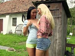 There's lots of sexy action at this old farm house. A dark haired slut and a sexy blonde take off each other's clothes and play with those perky tits. They kiss heavy and hard, and explore each other's cunts.
