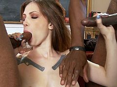 These two black snakes are ready to smash her pretty tight holes