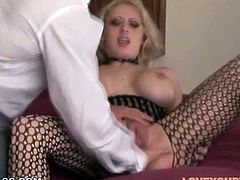 Gorgeous blonde slut with fake big boobs gets her pussy finger fucked and gives eager blowjob. She is everything your lust desires. Just enjoy watching deepthroat blowjob by kinky blonde whore.