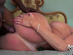 Horn-mad cougar Darla Crane gets her butthole hammered by a BBC