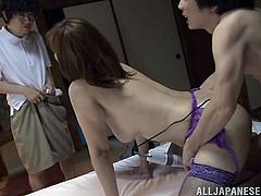 This Japanese nerd walks on, on his stepmom getting railed by his dad from behind. The parents are so horny, so they don't stop. The perverted little nerd boy gets turned on, because he is reminded of his favorite manga. He sticks his cock in his stepmom's mouth and then films the couple fucking.