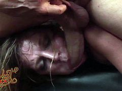 Aurora Snow is fuckable slut who likes king size dicks. She guzzles this big tool and then gets her muff rammed hard missionary style from behind.