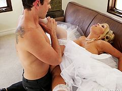 Stunning blonde girl Tasha Reign gets her pussy eaten out upskirt. Horny dude slides big dick in her tight pussy hole in a missionary position. Later on Tasha rides big dick on top.