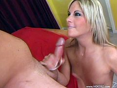 Blonde whore gives dude a tugjob