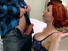Horny cougar Veronica Avluv seduced young stud for passionate sex. She gives awesome blowjob showing off her skills. Later on she rides solid prick in cowgirl position.