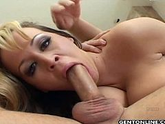 Make sure you don't miss horny blonde MILF Brandy Talore and her amazing pair of titties. She wastes no time and after blowing his shaft she rides it like a filthy slut.