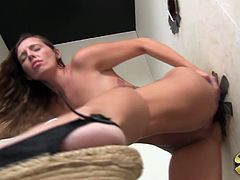 A delightful White babe takes off her clothes in a room with holes in a wall. Horny Jamie sucks a big black cock and also gets banged through the wall. This babe also gets her pink pussy filled with sperm. Jamie loves creampie. She really needs to feel cum in her pussy.