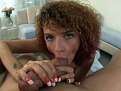 Curly-haired chick Joslyn James gives her lover a nice blowjob