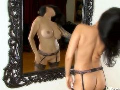 Raven haired whorish sex doll with gorgeous body shapes put on some sexy black lingerie and set to show off her treasures. This bitch needs to be fucked hard and immediately. Have a look at this lusty sex doll in Fame Digital porn video!