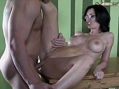 Amazing brunette milf Brandi Edwards wearing glasses is trying hard to please her man. She gives him a blowjob and they have sex in reverse cowgirl, missionary and other positions.