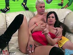 Raven haired whorish lassie with big sexy ass lied on sofa with her legs spread apart. Her hungry dude greedily ate her moist vagina and fingerfucked it a bit. Enjoy this hot guy in My XXX Pass porn video!