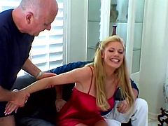 Sexy Roxetta takes off her pink negligee and lingerie. She gives a blowjob and gets fingered in front of two other men. She does not care that someone watches at her while having sex.