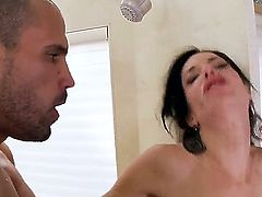 Luxurious milf with milky skin and great forms of body Veronica Avluv is having nice pounding with black man. He stares at her delights and starts screwing chick nicely.