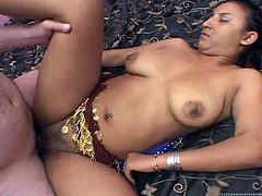 Saucy Indian hooker has got natural big boobs and sexy ass. Horny ass dude pounds wet pussy missionary style. Then he screws her snatch in sideways position.