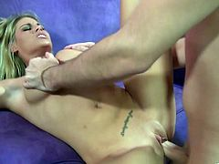 Sexy blonde chick Charisma Cappelli shows her amazing big tits to some man and turns him on. Then she drives the guy crazy with a deepthroat blowjob and welcomes his shaft in her juicy cunt.