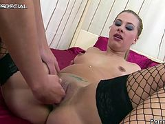 Small breasted hottie in black fishnets lies in bed with her legs spread apart and gets her dumpy twat fisted hard by that bitchy chick. Watch that hot lesbo whoopie in Porn XN sex video!