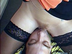Captivating blonde milf Dolly Golden wearing stockings and a miniskirt seduces some guy. She gives him a blowjob on the stairs and welcomes his dick in her pussy and asshole.