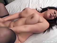 Well-endowed chubby Japanese bitch Nanako Mori wearing sexy lingerie lets some guy knead her massive natural tits and finger her cunt. Then they bang in cowgirl and missionary positions and enjoy it much.