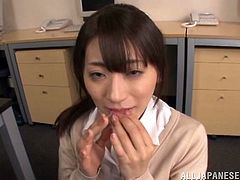 What a shinning one Saki Kouzai is! She is going to get down on her colleague's cock and suck it with passion. She is so cute.