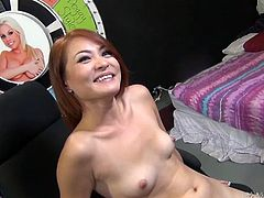 This effortlessly seductive Asian babe with sparkling eyes is far from being shy so she feels comfortable posing nude for the camera. She has a pretty face, small tits and a nice shaped ass that's just begging to get fucked hard in every position.