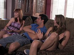 Horny redhead chick Marie Mccray wearing a miniskirt gives a blowjob to her BF. Then they fuck in missionary and side-by-side positions and enjoy it much.