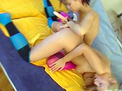 Amazing lesbians Lynn and Boroka strip and show their hot bodies to each other. Then they eat each other's coochies and pound them with a dildo.