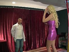 Long legged blonde pale dancer Courtney Taylor dominates Jeremy Conway at the scene