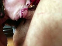 This hot and filthy brunette Veronica Avluv knows how to blow a cock. She takes off her clothes and gives her man an unforgettable deepthroat on the couch.