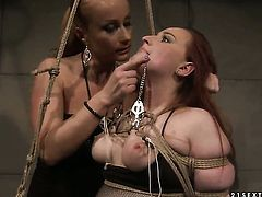 Mature chick Kyra with gigantic knockers and Katy Parker show their love for lesbian sex