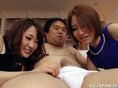 Make sure you have a look at this hardcore scene where these gorgeous Japanese babes share this guy's cock in a threesome.