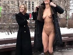 Young girls are simply amazing as they pose nude in public scene