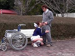 Nurse is taking this dude for a while at the park, sits him on a bench and starts riding his cock. Pretty fuckin' fucked up right?