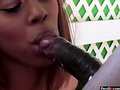 Dark skinned sexpot Aleia Tyler shows off her round booty in red thongs.Lucky black dude eats her sweaty asshole and fucks her tight poon with his big black dick doggystyle. Aleia doesn't hesitate to suck that BBC.