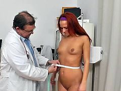 Her wet cunt is about to receives a great stimulation from greedy doc