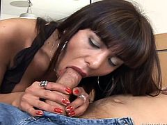 This lustful ladyboy enjoys sucking big cock. Her juicy lips slide penis shaft up and down and her eyes are closed with pleasure. It's a time for provocative shemale sex tube video for free.