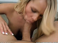 Naughty blonde loves sucking king size dicks on a pov camera. Just enjoy watching her juicy lips and big tits while she sucks huge cock.