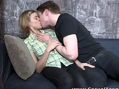 Brunette guy meets the girl on the street and offers her sex in his apartment. And this sexy and attractive light haired bitch agrees. She sucks the dick and gets he dripping pussy drilled on the sofa. Have a look at this cunt in Casual Teen Sex xxx video.