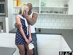 Scarlet Red might look like a precious little thing, but she wants to get rammed by a black dude. She has an interracial fuck with a guy that pounds her rough.