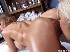 Julez is felling tense, so she has gone in, to see her favorite masseuse. Ash is very skilled with her hands and tells her client to get on the table and lean forward, so she can lick, and finger her pussy. Now she feels much more relaxed.