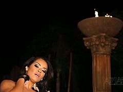 Hot alt brunette babe Daisy Marie is horny but has no man, or woman, around. She puts on a sexy striptease to get herself worked up and gets really horny before she gets ready to finger some bush.