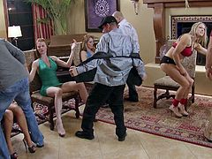 This group of swingers are enjoying living in a mansion quite a bit. They are partying, like crazy and ripping off each others clothes. The nights always end in a huge, sweaty orgy. There is plenty of pussy eating and cock sucking going on tonight.
