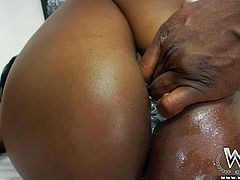 She's black and she's fucking hot! This healthy black beauty needs a serious fuck and she receives one from this dude. He has a big black cock, big and hard enough to satisfy all her sexual cravings. Look how he slides his rod in her juicy pussy and pounds her. Maybe she needs more, than just a cock?